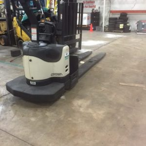Used Crown PE 4500 series pallet lift truck in the Lift Power warehouse